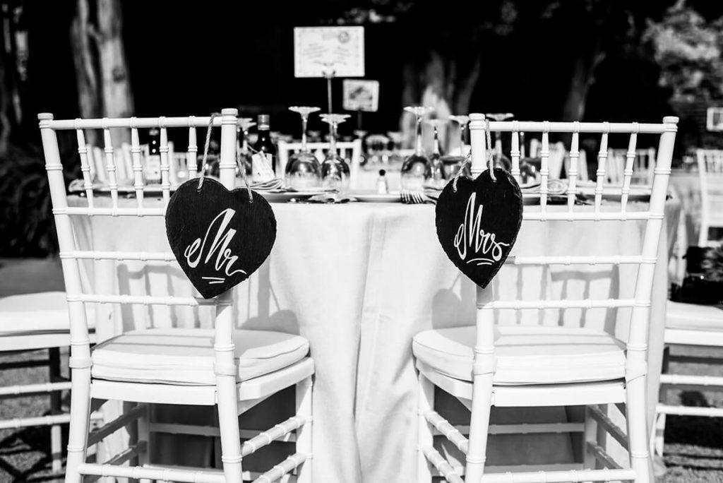 detalles de boda para sillas